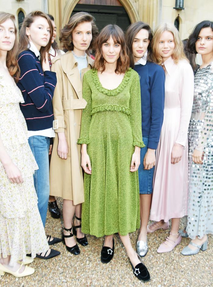 Alexa Chung fashion brand: Green sparkly dress