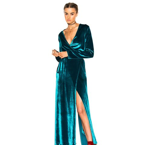 Raquel Velvet Dress in Turquoise