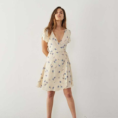 The Anya Dress in Cream and Blue Floral