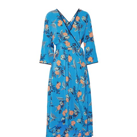 Asymmetric Wrap-Effect Floral Print Maxi Dress