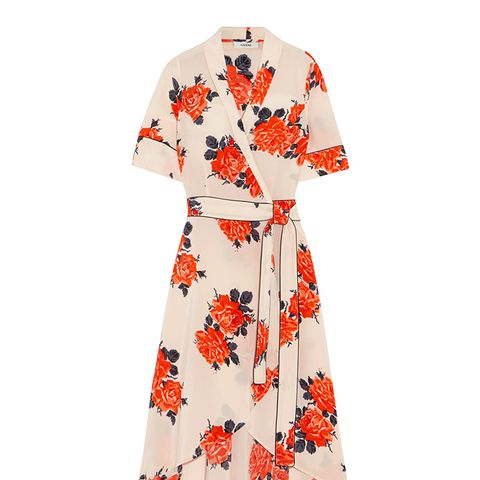 Harness Floral-Print Silk Crepe de Chine Wrap Dress
