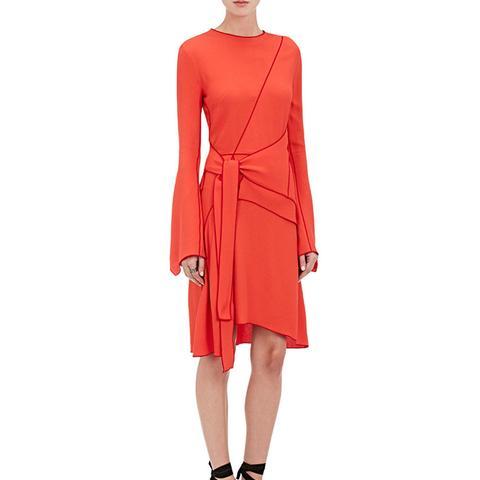 Crepe Asymmetric Wrap Dress