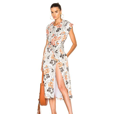 Crepon Print Belted Wrap Midi Dress