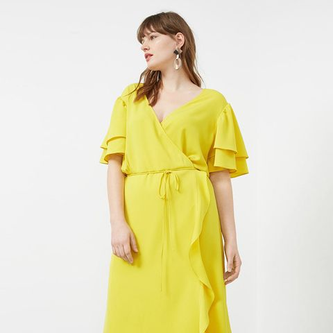 Wrap Neckline Dress in Lime