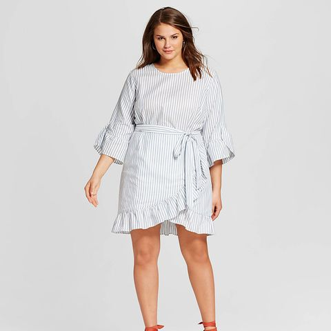 Plus Size Belted Ruffle Dress in Blue Stripe