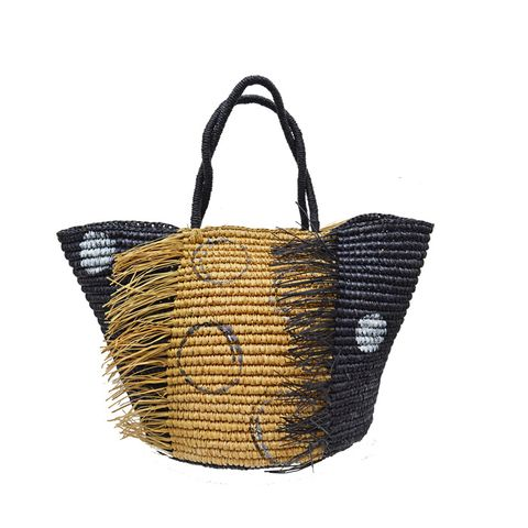 Frayed Polka Dot Maxi Tote Bag