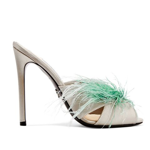 Feather-Embellished Satin Mule