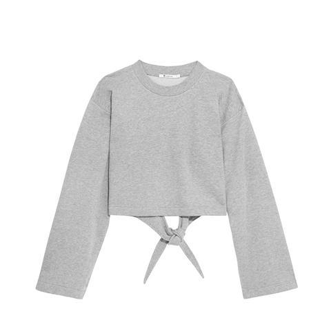 Tie-Back Cropped Cotton-Blend Jersey Sweatshirt