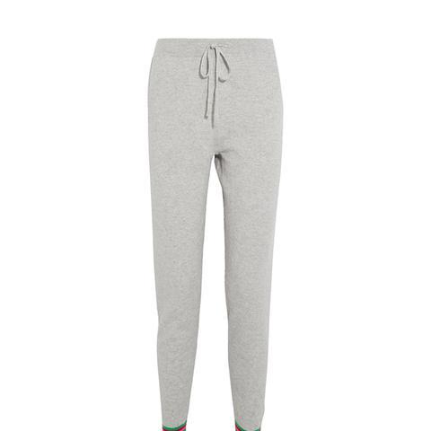 Stripe Cuff Cashmere Track Pants
