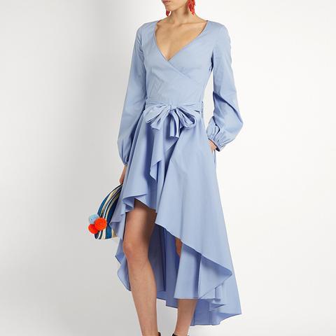 Lena Assymetric Hem Cotton-Blend Wrap Dress