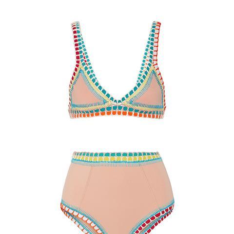Luna Crochet-Trimmed Triangle Bikini Top