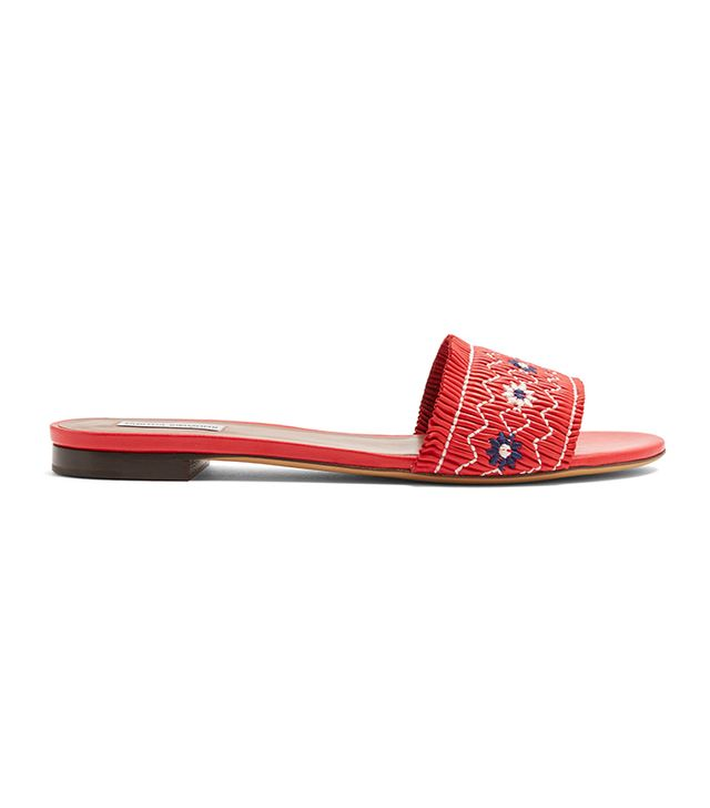 Tabitha Simmons Dizzy Embroidered Leather Slides