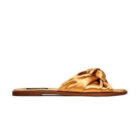Satin Bow Slides in Golden