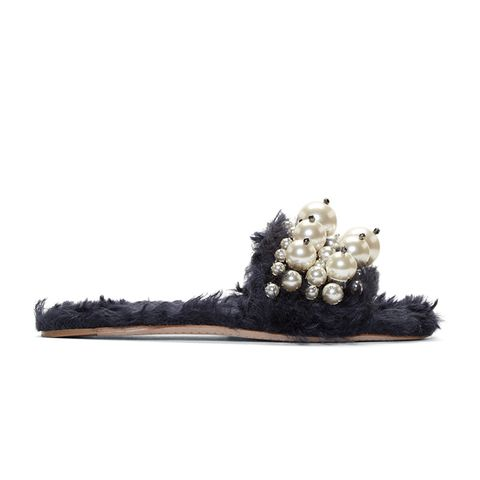 Pearly Faux-Shearling Slides in Blue