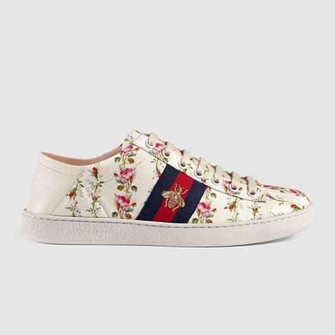 Ace Rose Print Low-Top Sneakers