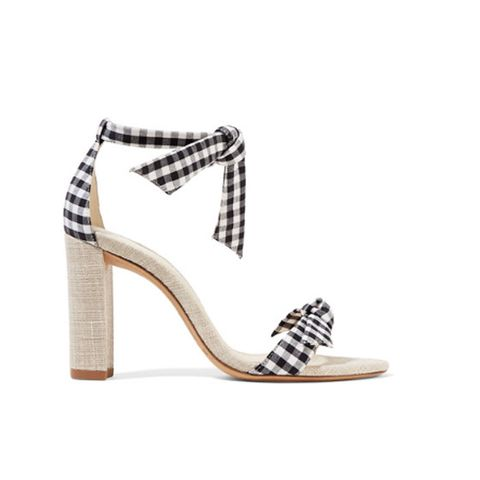 Clarita Bow-Embellished Gingham Cotton and Canvas Sandals