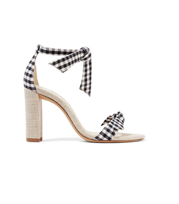 Best wedding guest accessories: Clarita Bow-embellished Gingham Cotton And Canvas Sandals