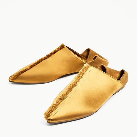 Frayed Flat Satin Slippers