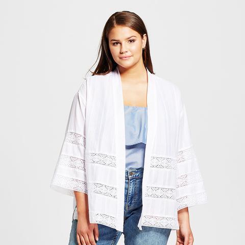 Plus Size Lace Mix Kimono