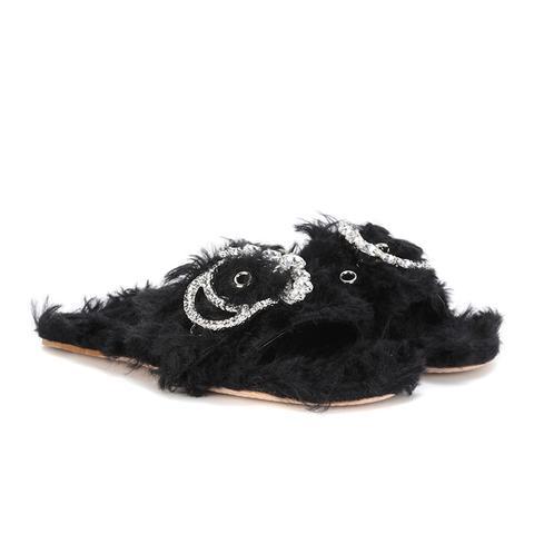 Embellished Faux Fur Slides