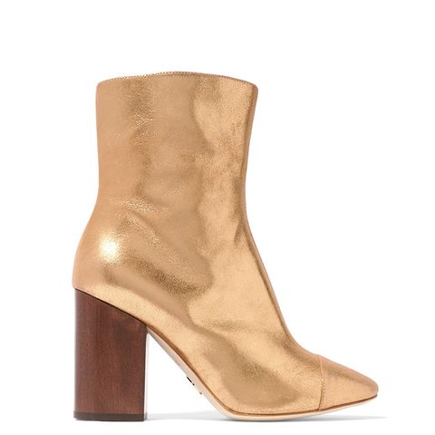 Bianca Metallic Brushed-Leather Ankle Boots