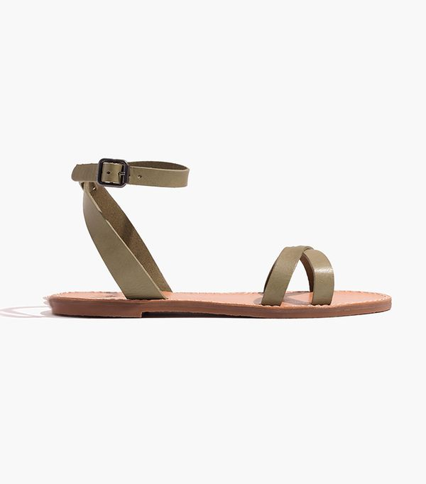 Madewell The Boardwalk Ankle-Wrap Sandal in Expat Olive