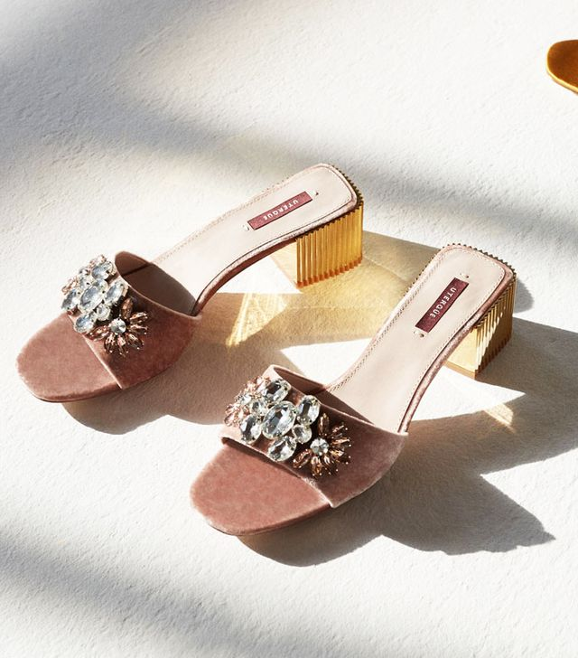 Uterqüe Velvet Slides With Gems