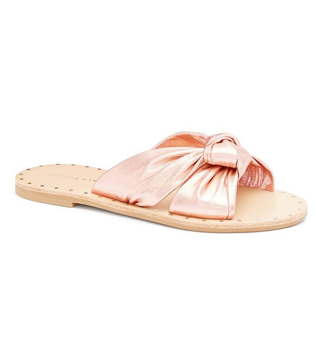 Loeffler Randall Lucia Studded Knot Slides in Rose Gold