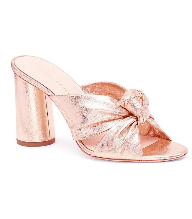 Loeffler Randall Coco High Heel Knot Slides in Rose Gold