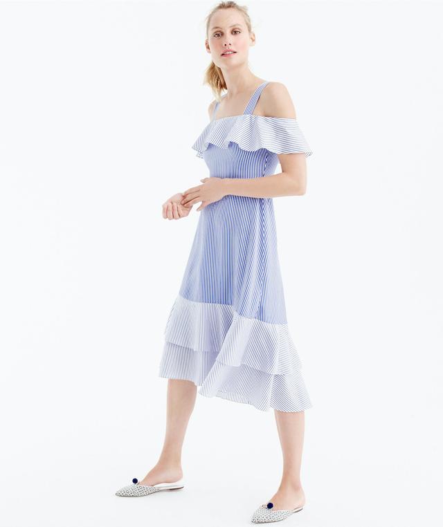 J.Crew Striped Cold-Shoulder Silk Dress