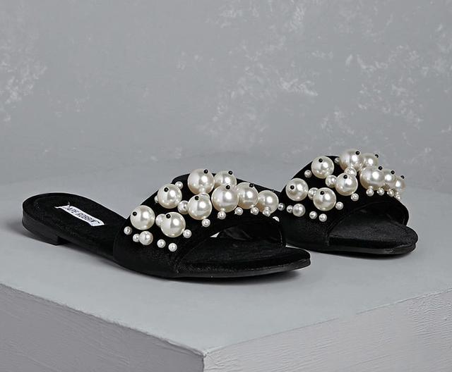 Forever 21 Faux Pearl Velvet Slide Sandals