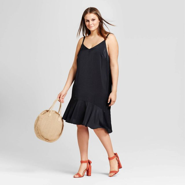 Who What Wear Angeled Hem Slip Dress