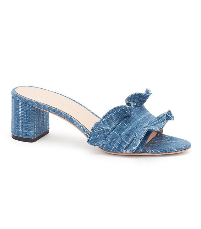 Loeffler Randall Vera Ruffle Slide Sandals in Woven Indigo