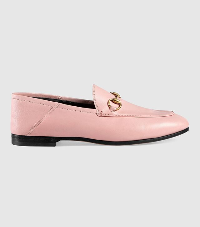 Gucci Leather Horsebit Loafers in Light Pink Leather