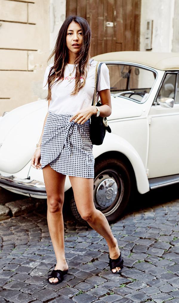 T-Shirt + Wrap Skirt + Slides