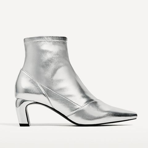 Silver-Toned Elastic High Heel Ankle Boots
