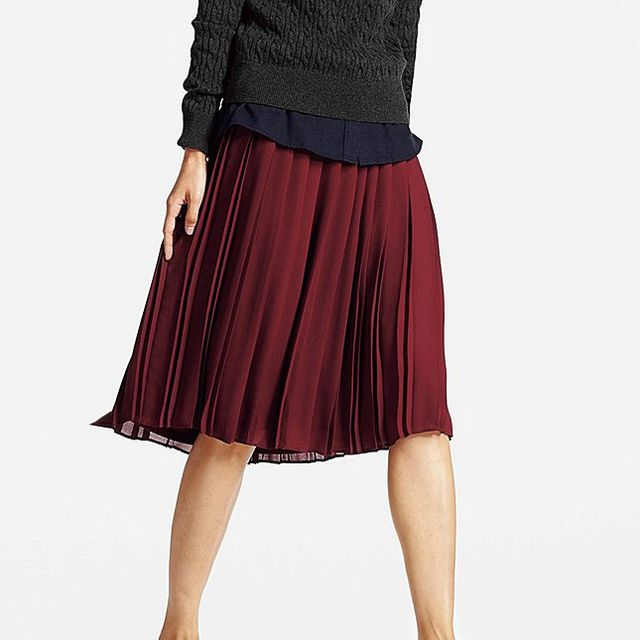 Women High Waist Chiffon Pleated Midi Skirt