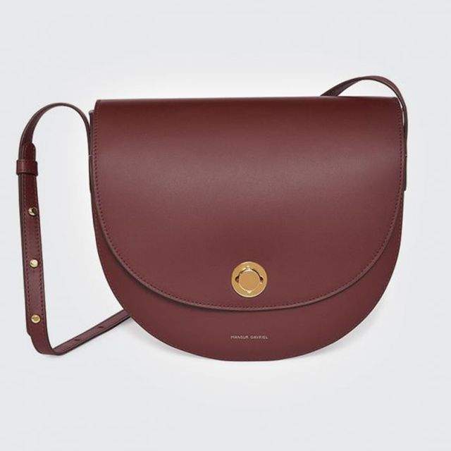 Mansur Gavriel Calf Saddle Bag in Burgundy