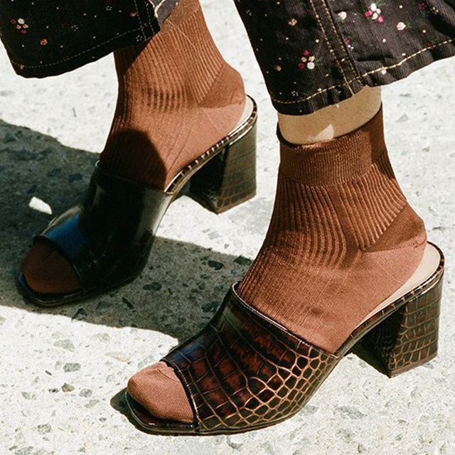 Maryam Nassir Zadeh Mar Mule in Choc Faux Crocodile