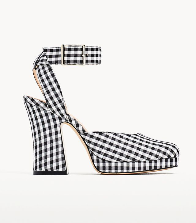 Olivia Culpo high street style: gingham shoes