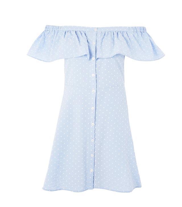 Topshop Spot Dobby Button Bardot Dress