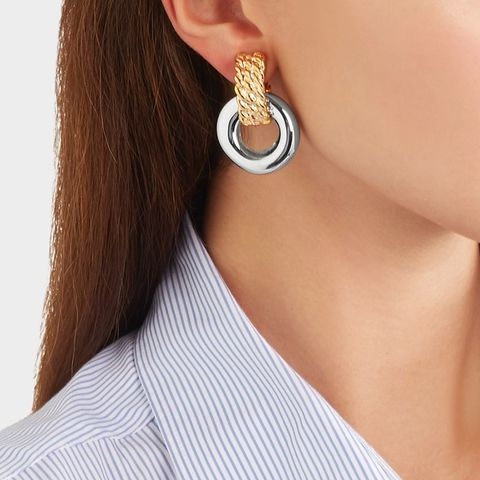 Gold and Rhodium-Plated Clip Earrings