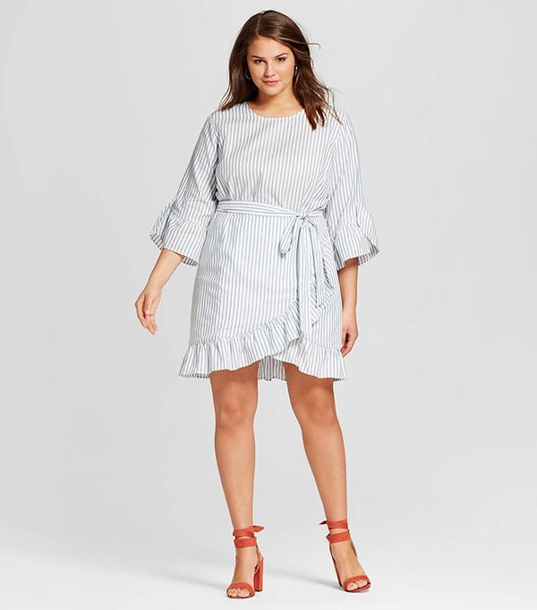 Plus Size Belted Ruffle Dress