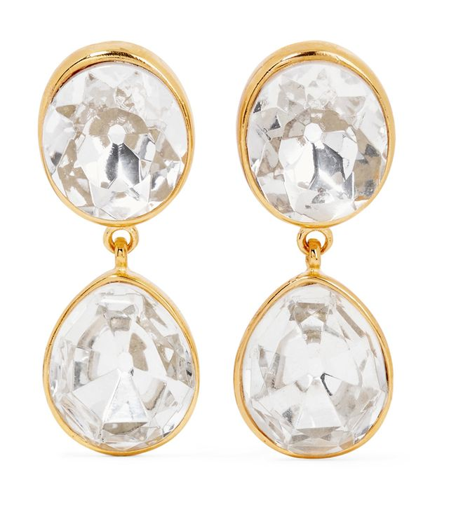 Gold-plated Crystal Clip Earrings
