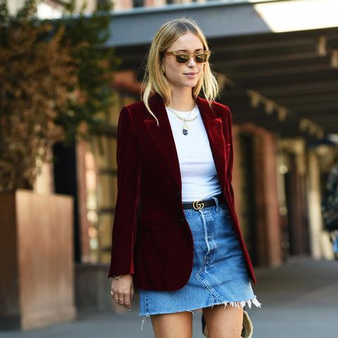 Best Denim Skirts: Pernille Teisbaek in a denim mini skirt