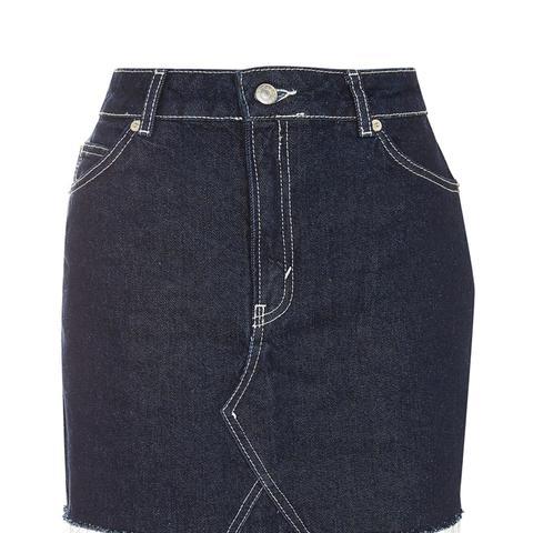 Moto Contrast Stitch Skirt