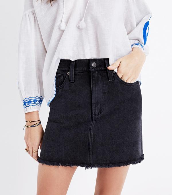 Best Denim Skirts: Madewell Mccarren Raw-Hem Jean Skirt In Washed Black