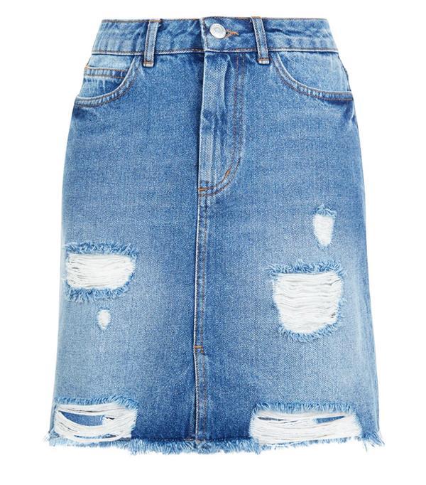 Best Denim Skirts New Look Blue High Waist Ripped SkirtBest