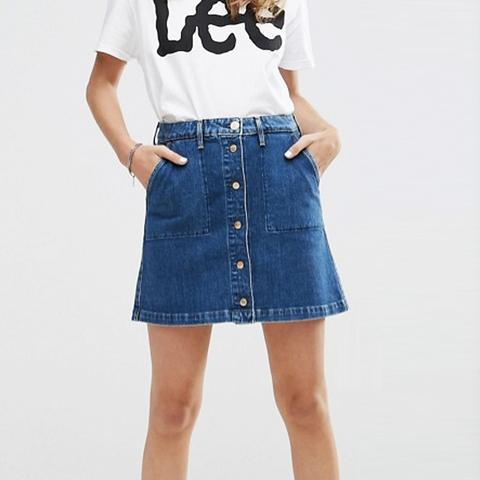 Button Through Vintage Look Denim Skirt