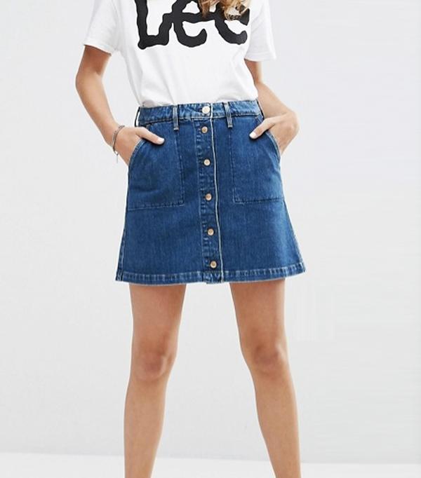 Best denim skirts: Lee Button Through Vintage Look Denim Skirt